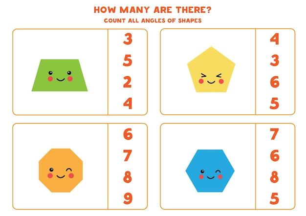 Jogo a contar com formas geométricas kawaii fofas. conte o número de ângulos.