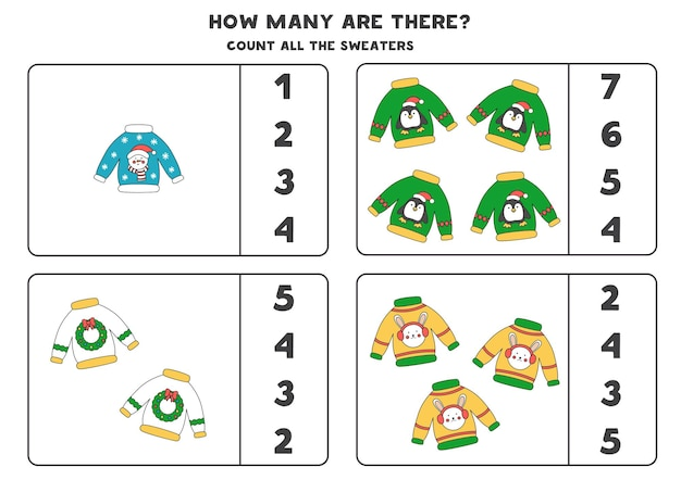 Jogo a contar com suéteres de natal. planilha educacional.