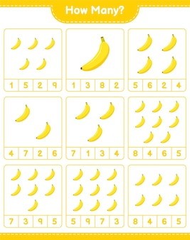 Jogo a contar, quantas banana. jogo educativo para crianças, planilha para impressão