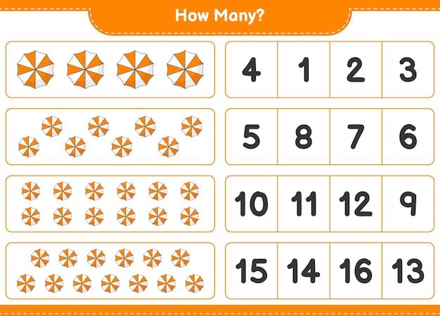 Jogo a contar, quantos guarda-chuva de praia. jogo educativo para crianças, planilha para impressão