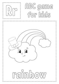 Jogo abc para crianças. página para colorir do alfabeto.