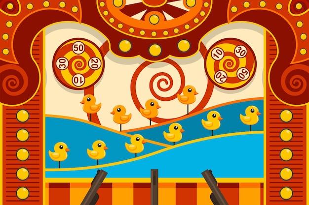 Jogo arcade de tiro no carnaval com ilustração de pato e arma