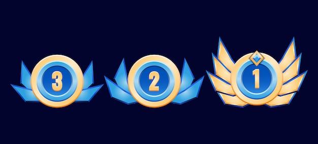 Jogo arredondado medalhas de distintivos de diamantes dourados e brilhantes com asas