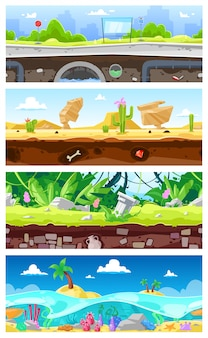 Jogo base vetor desenhos animados paisagem interface gamification e paisagem urbana ou cenário de cena de jogo urbano conjunto de ilustração de oceano subaquático ou papel de parede no deserto