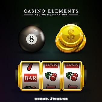 Jogo, casino, elementos, realístico, desenho