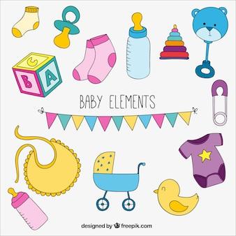 Jogo colorido de elementos do bebê
