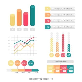 Jogo colorido de grandes elementos infográfico