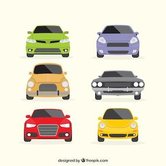 Jogo colorido de veículos planas