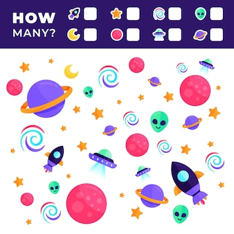 Jogo criativo de contagem colorido