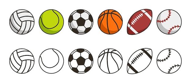 Jogo da bola do esporte ilustração do vetor dos ícones das bolas do jogo