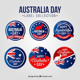 Jogo da etiqueta redonda para o dia austrália