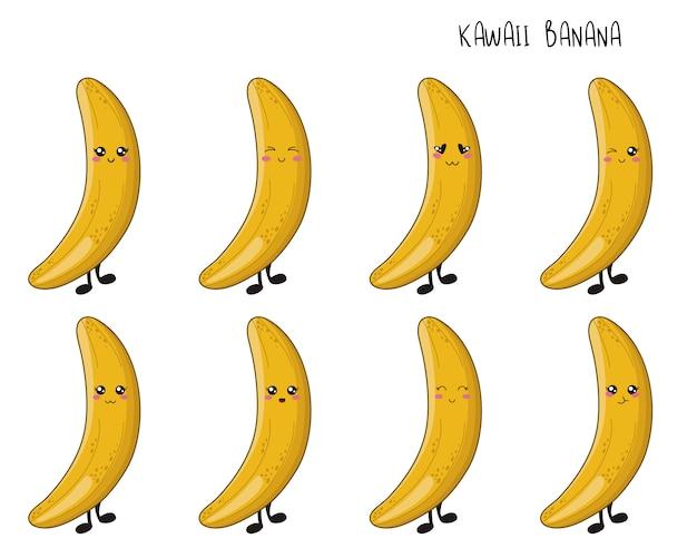 Jogo da fruta do kawaii - bananas com emoji diferente. elementos isolados