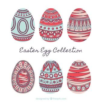 Jogo da mão ornamental elaborado ovos de páscoa