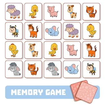 Jogo da memória para crianças em idade pré-escolar, cartas de vetores com animais da fazenda