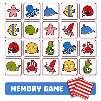 Jogo da memória para crianças em idade pré-escolar, cartas de vetores com animais marinhos