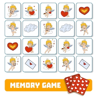 Jogo da memória para crianças em idade pré-escolar, cartas de vetores com anjos