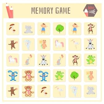 Jogo da memória para crianças, mapas de animais gráficos vetoriais