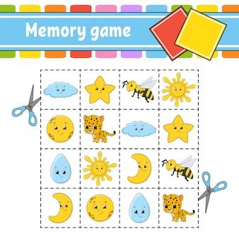 Jogo da memória para crianças. planilha de desenvolvimento de educação. página de atividade com fotos.