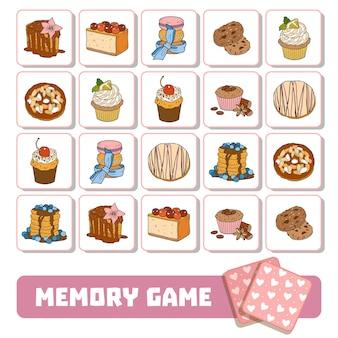 Jogo da memória vetorial para crianças, cartas com doces e bolos