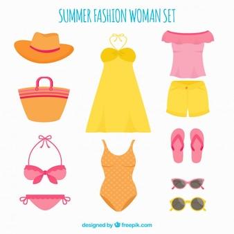Jogo da roupa de verão para mulheres