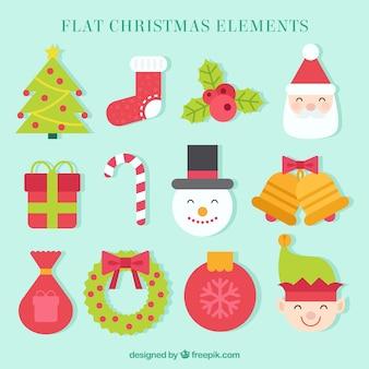 Jogo das belas elementos da decoração do natal no design plano