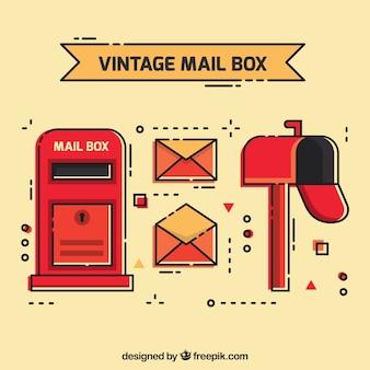 Jogo das caixas de correio e envelopes no estilo do vintage