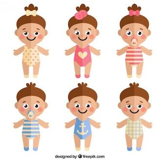 Jogo das crianças adoráveis no design plano