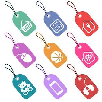 Jogo das etiquetas com ícones para as seções de supermercado