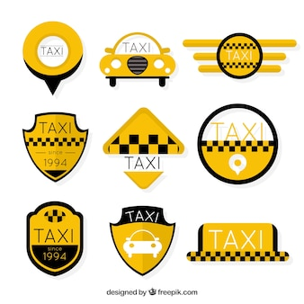 Jogo das etiquetas de táxi amarelo
