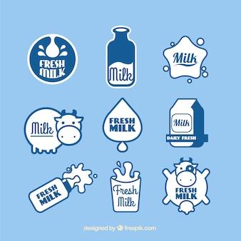 Jogo das etiquetas lácteos frescos
