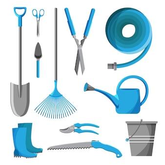 Jogo das ferramentas de jardim isoladas no fundo branco. equipamento de jardinagem. agricultura icon ilustração de coleção.