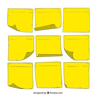 Jogo das notas amarelas desenhados mão