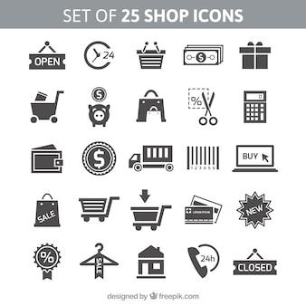 Jogo de 25 ícones de loja