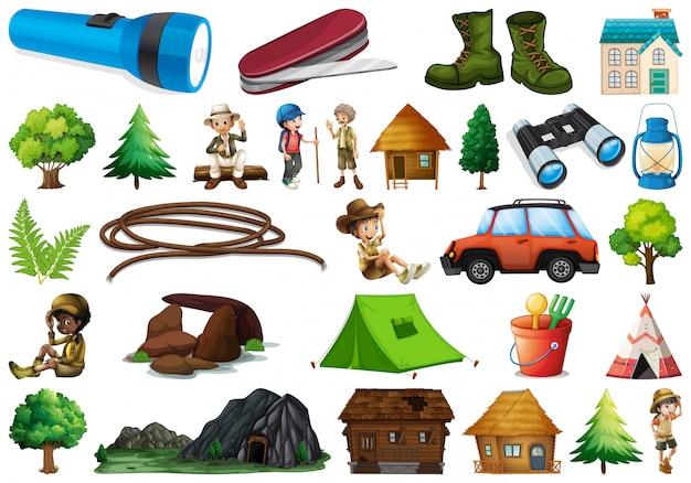 Jogo, de, acampamento, elemento