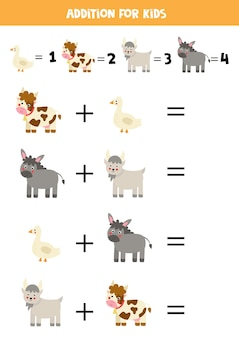 Jogo de adição com animais de fazenda bonitos dos desenhos animados. jogo de matemática para crianças.