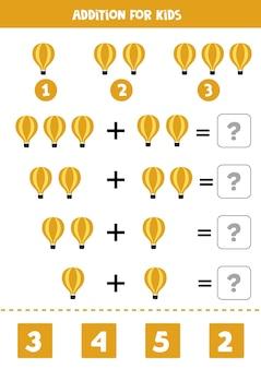 Jogo de adição com balão de ar quente de desenho animado. jogo de matemática para crianças.