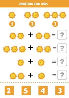 Jogo de adição com bonito sol kawaii. jogo de matemática para crianças.