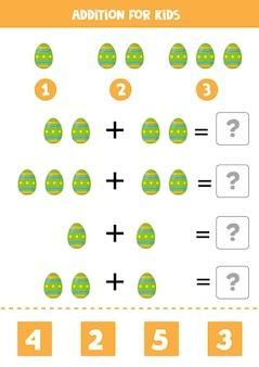 Jogo de adição com jogo de matemática de ovo de páscoa de desenho animado para crianças