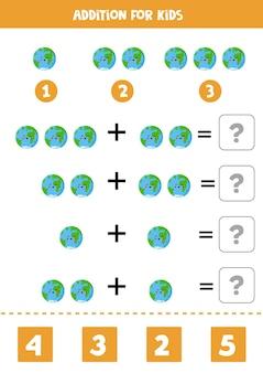 Jogo de adição com o bonito planeta terra kawaii. jogo de matemática para crianças.