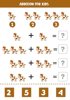Jogo de adição com vaca de fazenda bonito dos desenhos animados. jogo de matemática para crianças.