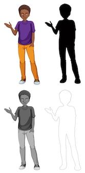 Jogo, de, africano, homem, personagem