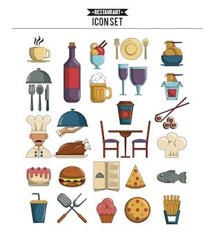 Jogo, de, alimento, ícones