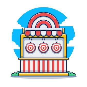 Jogo de alvo e desenho animado do carnaval de construção de dardos