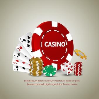 Jogo de apostas em cassino com cartas de jogar, moedas de ouro, fichas de cassino