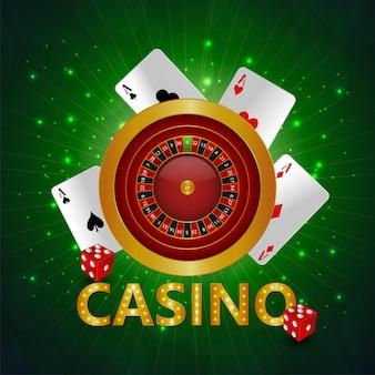 Jogo de apostas em cassino com texto dourado, cartas de jogar e caça-níqueis