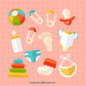Jogo de artigos do bebê no design plano