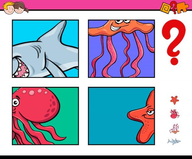 Jogo de atividade com animais da vida marinha