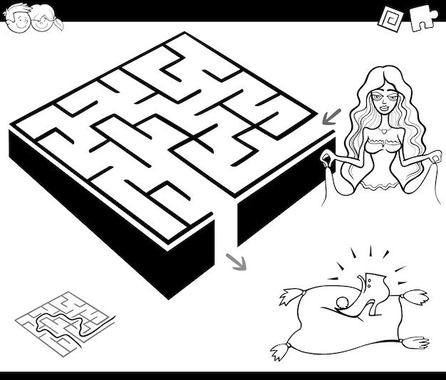 Jogo de atividade de labirinto com cinderela