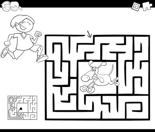 Jogo de atividade de labirinto com garoto e cachorro