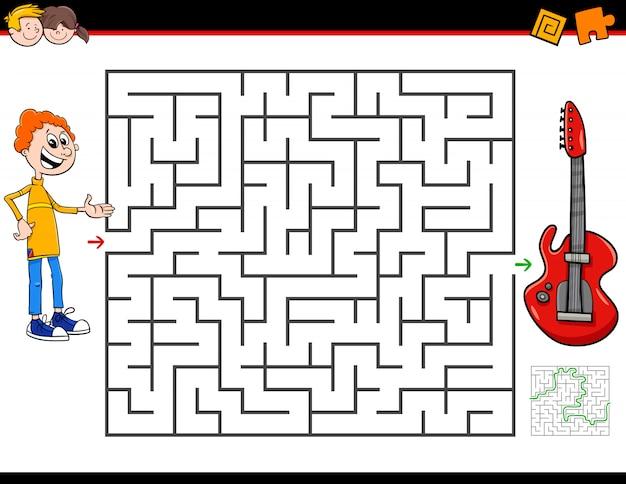 Jogo de atividade de labirinto com menino e guitarra elétrica